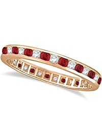 14k Gold Ruby and Diamond Channel Set Ring Eternity Band