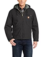 Carhartt Men's Sherpa Lined Sandstone Sierra Jacket,Black,Small