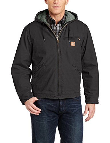 Lined Work Jacket - Carhartt Men's Sherpa Lined Sandstone Sierra Jacket J141,Black,Medium