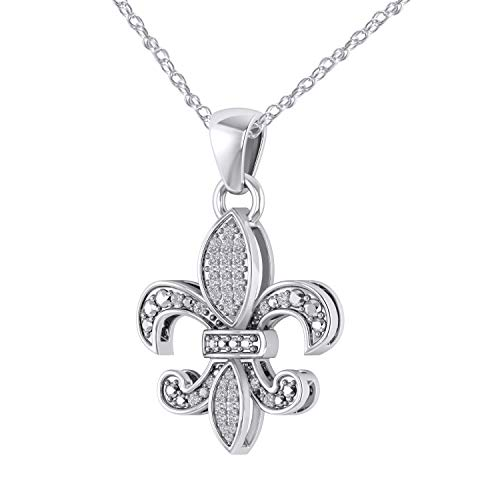Trillion Jewels 0.18 CT (Clarity I1-I2/Color I-J) Real Diamond 14K White Gold Fn Fleur-De-Lis Pendant Necklace ()