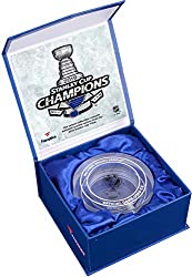 Commemorate the St. Louis Blues as the 2019 Stanley Cup Champions with this crystal puck. Each puck comes filled with melted game-used ice from the Stanley Cup Finals and shipped in a Fanatics Authentic gift box. It is officially licensed by the Nati...