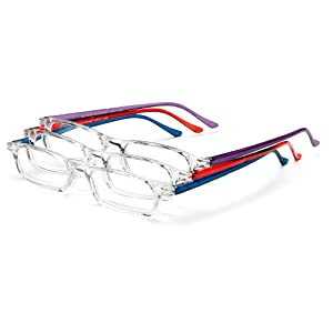 Optx 20/20 Fashion  Reading Glasses,  Clear Front, Solid Color Temples, +150 (Pack of 3)
