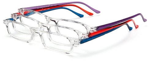 Optx 20/20 Fashion  Reading Glasses,  Clear Front, Solid Color Temples, +150 (Pack of - Online Price Glasses Low