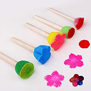 ETbotu 5 Pcs Pretty Sponge Brush Children Art DIY Painting Tools Baby Funny Colorful Flower Pattern Drawing Toys