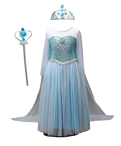 Tokyo Girl Halloween Costume (TOKYO-T Girls Sequin Princess Elsa Costume Long Sleeve Dress Up Snow Queen Cape Accessories Size)