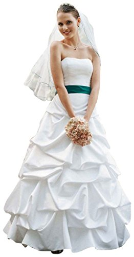 David's Bridal SAMPLE: Strapless Satin Pick Up Ball Gown Style AI15010389, White, (Pickup Ball Gown)