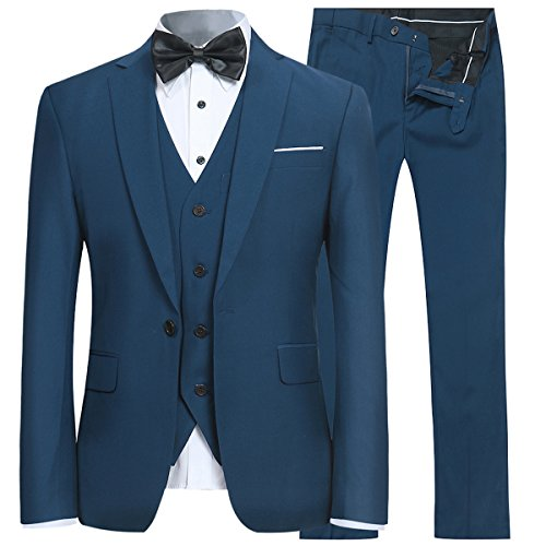 Men's Slim Fit 3 Piece Suit One Button Blazer Tux Vest & Trousers Aqua - Blue Fit Suit Slim