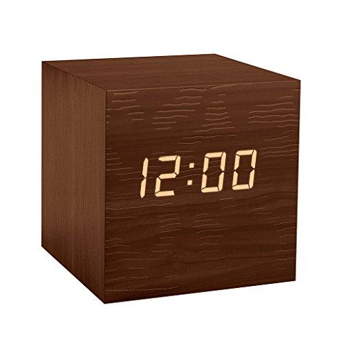Balvi - Kubo Despertador Digital de Madera. con 3 alarmas, Calendario, termómetro y Nivel de Brillo Ajustable. Alimentado por Pilas o USB.