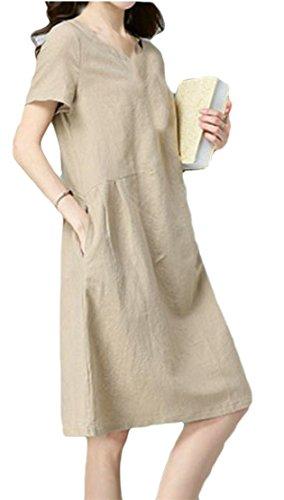Womens Solid Line Cromoncent Linen A Pocket Swing Crewneck Ethnic Style Khaki Dresses 1dwT5qw