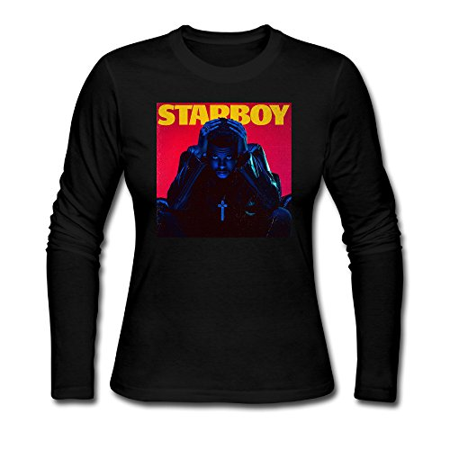 Women's The Weeknd Starboy New Album Cover Cotton Long Sleeve Tshirt (50s Haircuts)