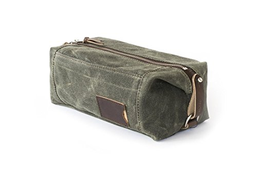 Waxed Canvas Dopp Kit: Large, Expandable, water-resistant, Hanging Toiletry Bag, Travel, Olive Green - No. 349 (Made in the USA) by Sivani Designs