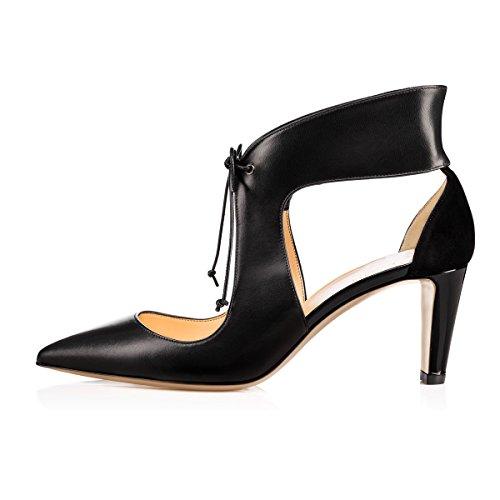 FSJ Women Stylish High Heel Pumps Lace Up Sandals Cut Out Party Evening Dress Shoes Size 4-15 US Black-7 Cm dqFzZMx