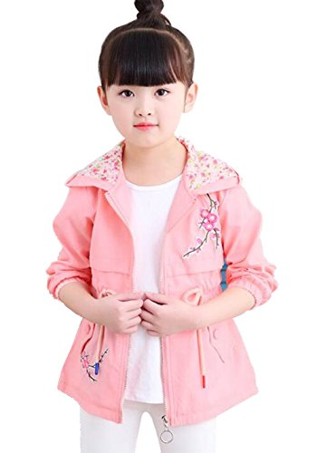 UNIQUEONE Kids Baby Girls Cute Floral Hoodies Windbreaker Spring Fall Trench Wind Jacket Outerwear Size 6-7Years/Tag120 (Fall Trench)