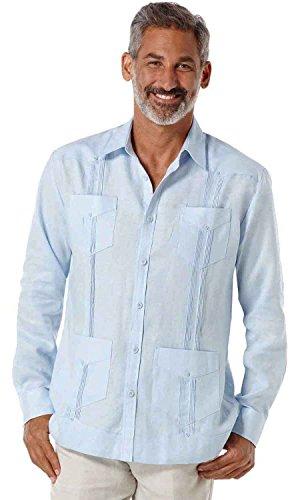 Guayabera Pleated (Cubavera Long Sleeve 100% Linen Plain Front Pleated Guayabera Shirt, Lt Blue, X-Large)