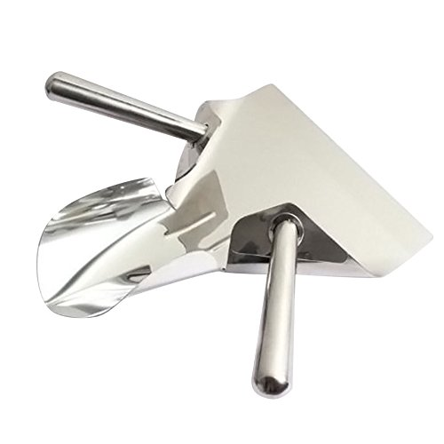 iecool Kitchen All Steel Metal Double Handle Fries Shovel Silver