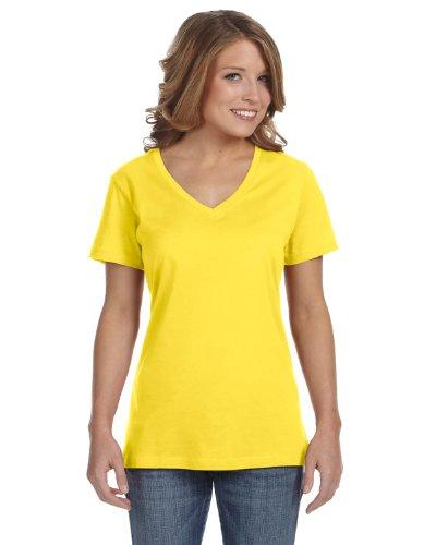 Anvil Womens Sheer V Neck Tee / T-Shirt (XS) (Lemon (Anvil Ladies V-neck Tee)