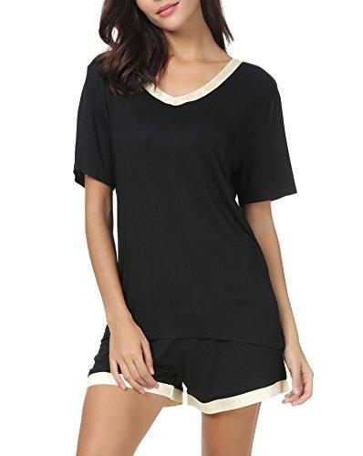Invug Women Short Sleeve T Shirt and Shorts Pajamas Sleepwear Set Loungewear Black XL