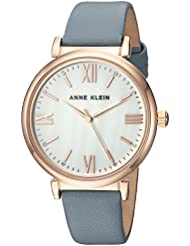 Anne Klein Womens AK/2962RGBL Rose Gold-Tone and Blue Leather Strap Watch