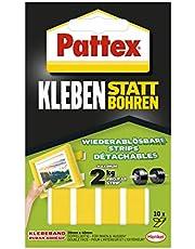 Pattex Lijmen in plaats van boren, sterk dubbelzijdig plakband, verwijderbare plakstrips, lijm beveiligt objecten permanent zonder boren, 10 stroken elk 20 x 40 mm