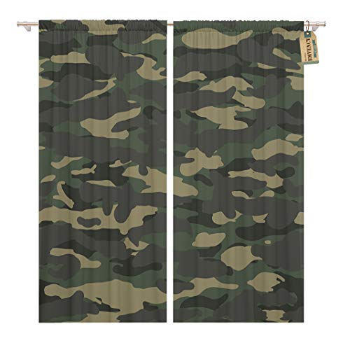 Golee Window Curtain Brown Camoflage Wide Woodland Camo Pattern Green Abstract Army Home Decor Rod Pocket Drapes 2 Panels Curtain 104 x 96 inches
