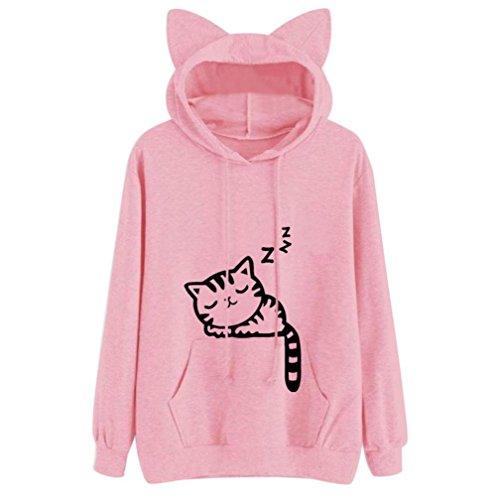 kaifongfu Womens Cat Hooded,Long Sleeve Hoodie Sweatshirt Pullover Tops Blouse (XXL, Pink)