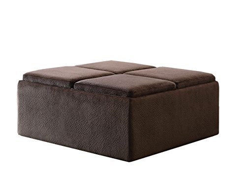 Homelegance 468CP Textured Plush Microfiber Storage Ottoman with 4-Flip Top Tray Inserts and Casters, Dark Brown