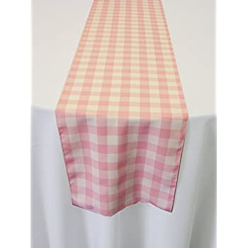 Attractive ArtOFabric Light Pink And White Checkered Polyester Table Runner 13 X  90 Inch.