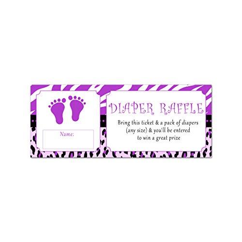 (50 Diaper Raffle Tickets Baby Girl Shower Purple Zebra)