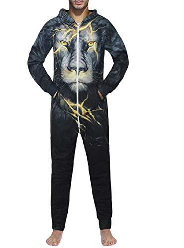 Jaycargogo Men's Onesie Hoodie Casual Lion Print Jumpsuit Sleepwear Pajamas 1 M ()