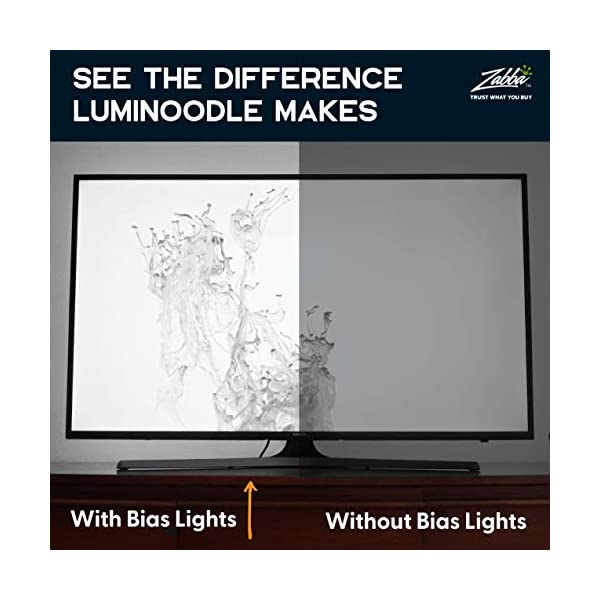 "Luminoodle Bias Lighting, Backlight Kit for Monitors up to 24"" - USB LED Light Strip - Computer Monitor Backlight - True White Adhesive Strip - White - Small (<24"" TV) 3"