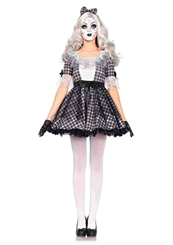 3pc. Porcelain Doll Face Mask Costume Bundle with Rave Shorts