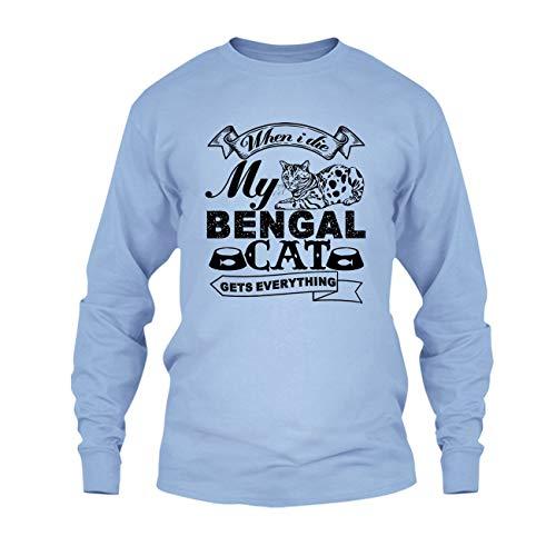 Love My Bengal Cat Shirt, Long Sleeve Shirt Design, Long Sleeve (L,Blue)
