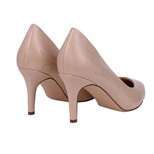 Buganda Donna Moda Vernice Tacchi Alti Sexy Slip On Scarpe Punta A Punta Scarpe Da Sposa Basic Shoes Beige
