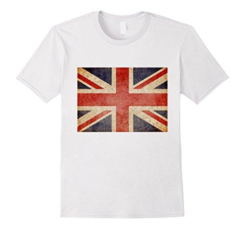 Mens Union Jack T-shirt Vintage UK Flag Tee British Retro Flag XL (Art Union Jack Flag T-shirt)