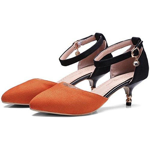 TAOFFEN Women Kitten Heel Court Shoes Orange ugF32GWYWh