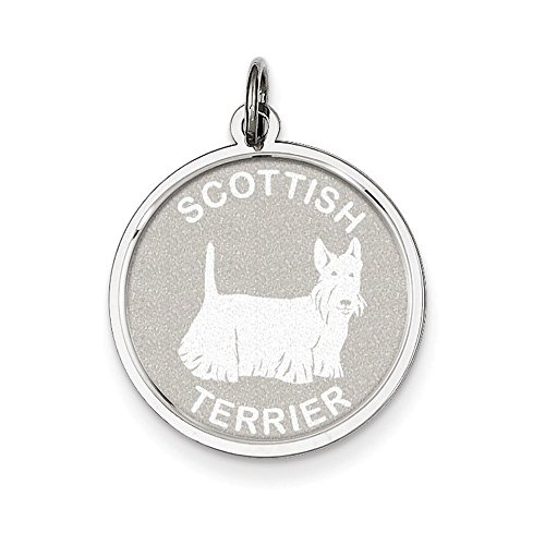 Sterling Silver Scottish Terrier Disc - Scottish Terrier Disc Charm