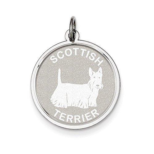 Sterling Silver Scottish Terrier Disc - Charm Disc Scottish Terrier
