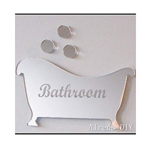 Alrens_DIY(TM) 4pcs Rounds Bathroom Asexual Toilet Sign DIY Acrylic Mirror Surface Crystal - Bathroom Murals Self Mirrors Adhesive