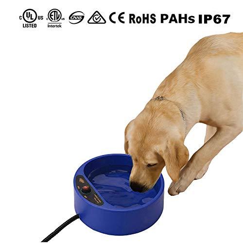Perro calefacción cuenco, Tazón para agua termal para mascotas al aire libre, Tazón para agua caliente para perros y gatos...