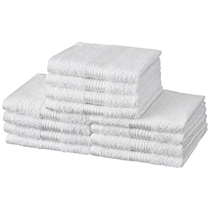 Amazon Brand – Solimo 100% Cotton 12 Piece Face Towel Set, 500 GSM (Multicolour)