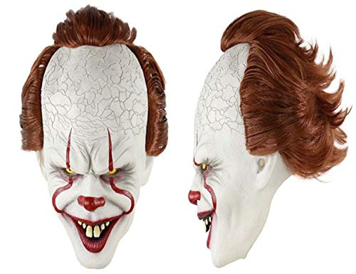Scary Clown Mask Joker Cosplay Latex Mask Creepy Halloween Face Mask Costume Stephen King's It Pennywise for Cosplay Halloween Costume Fancy Dress Party Adults (Clown Mask) -