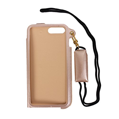 Funda iPhone 8 Plus Piel Carcasa,iPhone 7 Plus Carcasa Grand Cuero Cartera Fundas Rosa Schleife®Funda Bolso Ultra Slim Delgado Piel Bolsa Protectora Cover movil teléfono PU Leather Card Case con Tarje Oro Rosa