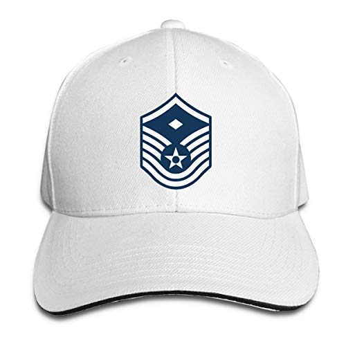 Air Force Master Sergeant 1st SGT Diamond Rank Unisex Adjustable Cap Baseball Cap Sandwich Cap White