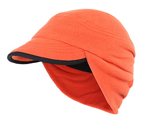 Home Prefer Winter Warm Skull Cap Outdoor Windproof Fleece Earflap Hat With Visor (Orange) (Beanie Visor Fleece)