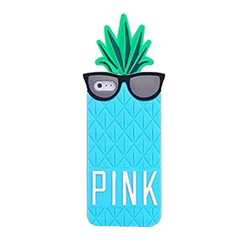 Mingfung 3D Fruit pineapple Black Glasses Design Skin Silicone Case Cover For Appple Iphone 6 Plus 5.5 inch Sky blue