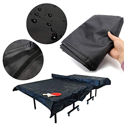 ESSORT Outdoor Ping Pong Table Cover, Oxford Fabric Table Tennis Cover Weatherproof Upright Heavy Duty Table Tennis Cover-121.3'' x 63'' x 6.3''