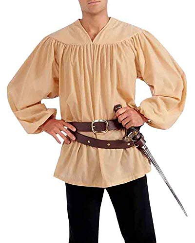 Taoliyuan Mens Medieval Renaissance V Neck Cotton Shirt Elizabethan Pirate Cosplay Costume Tops