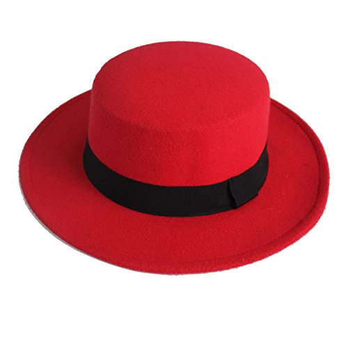 NE Norboe Women's Brim Fedora Wool Flat Top Hat Church
