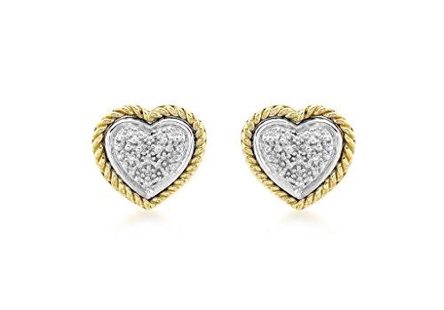 Boucles d'oreilles clous Cœur serti de 2Couleur or 9carats Diamant