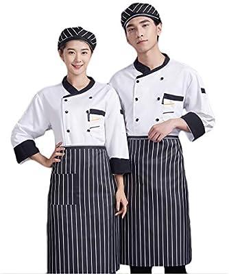 WYCDA Chaqueta de Chef/Cocinero Manga Larga Negro Rojo Blanco ...